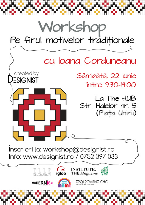 Afis Workshop motive Ioana Corduneanu chenar 11 mai