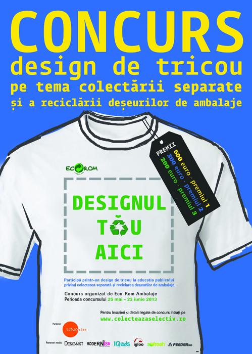 Design de tricou pe tema colectarii separate si a reciclarii deseurilor de ambalaje - Designist