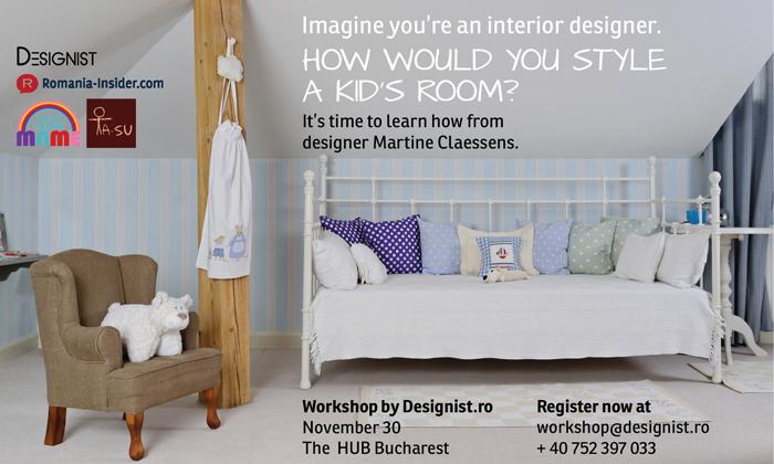 Afis workshop KIDS rooms cu parteneri designist