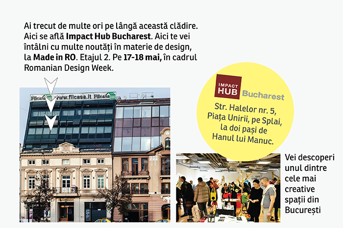 Locatia Impact Hub Bucharest made in RO 4 441 Design Studio: new entry la Made in RO. În weekend, pe 17 18 mai, lansează noua colecție @ Impact Hub