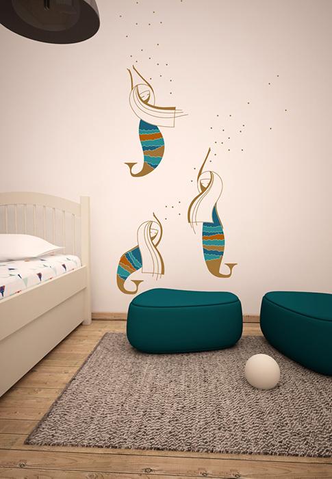 sirene in randare - cai verzsi pe pereti - designist