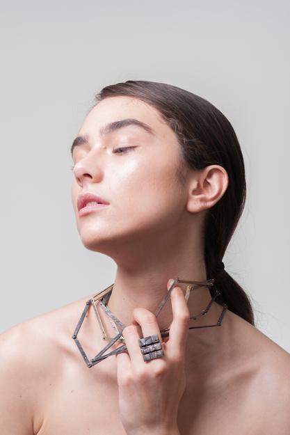Ioana Ardelean -CUT LINGOT NECKLACE, BURNT STRUCTURE RING.Photo credits Alexandru Boghian. Makeup Ioana Covali. Model Ada Tache
